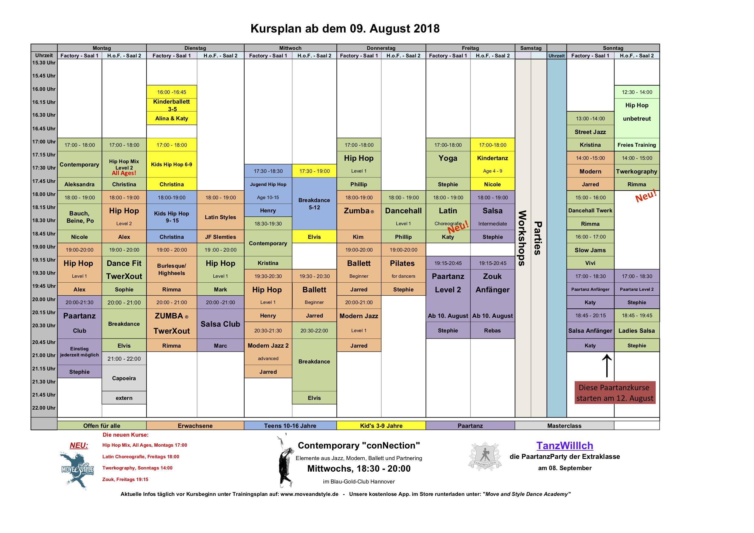 Neuer Kursplan ab August