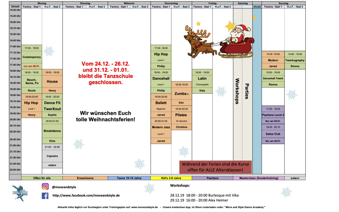 Kursplan für die Weihnachtsferien 2019