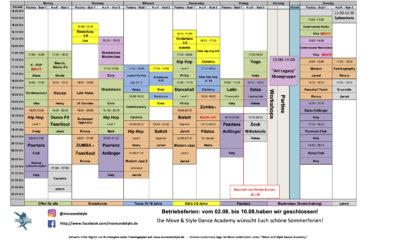 Kursplan für die Sommerferien 2020